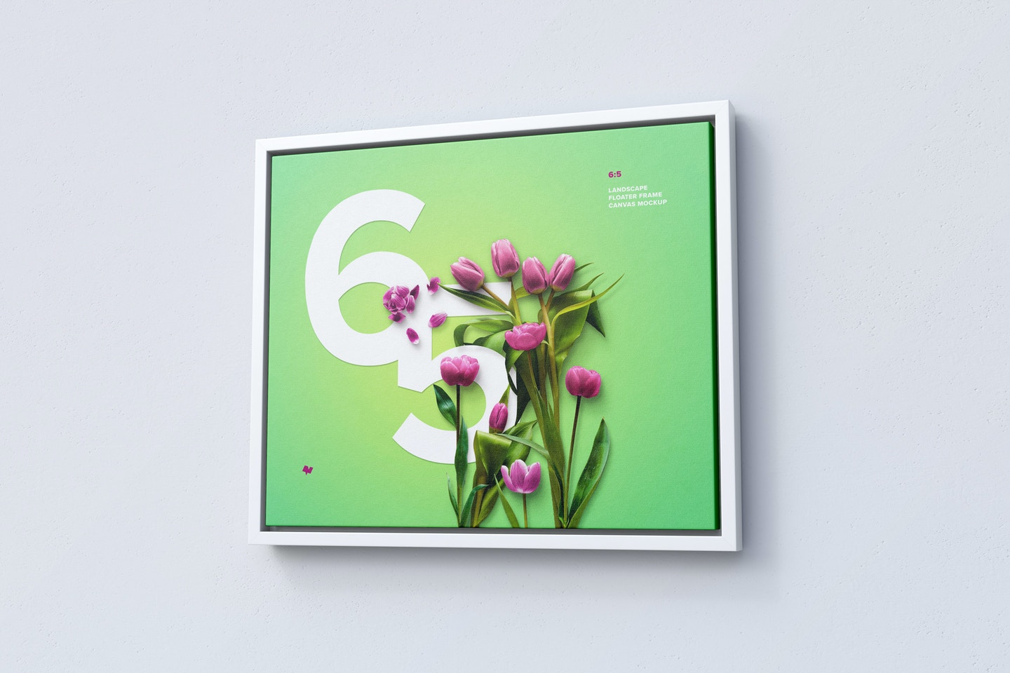 6:5 Landscape Canvas Mockup in Floater Frame, Right View