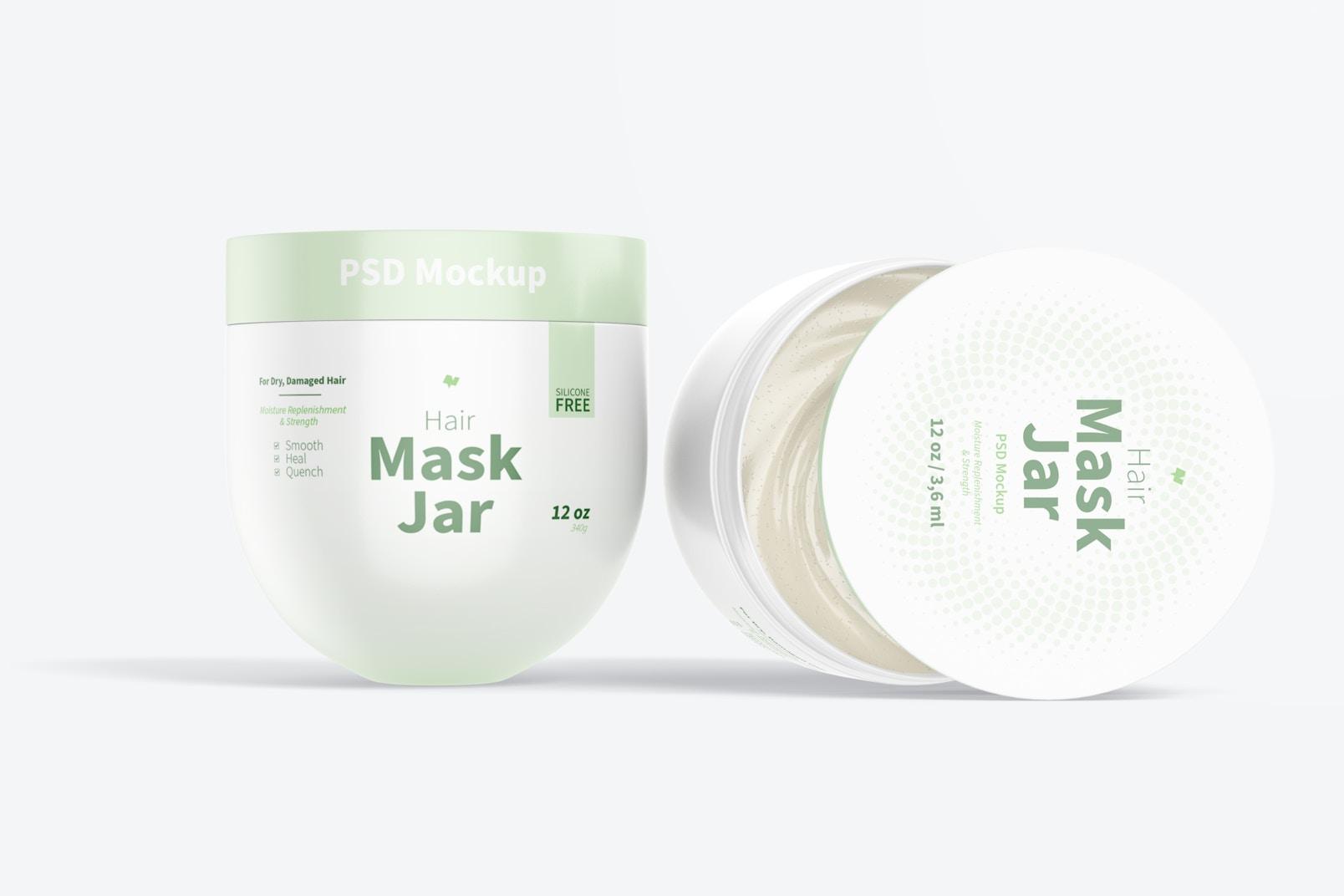 Hair Mask Jars Mockup, Opened and Closed