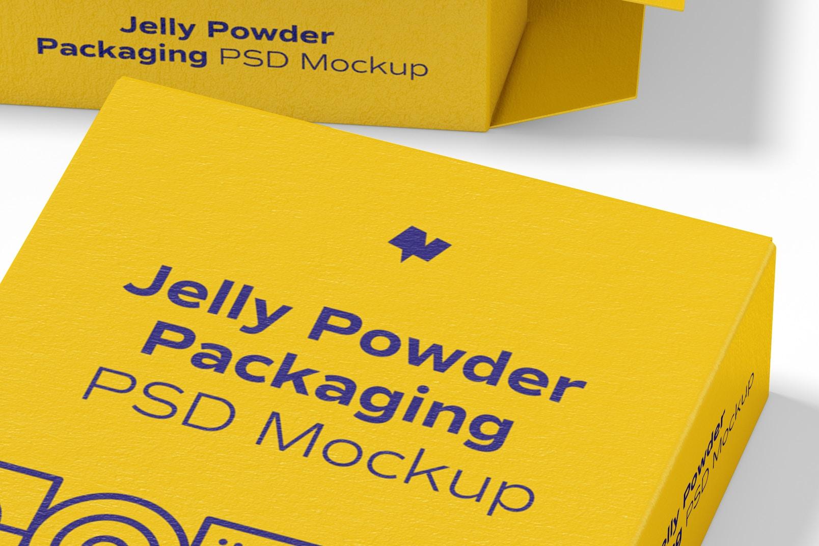 Jelly Powder Packaging Mockup, Close-Up