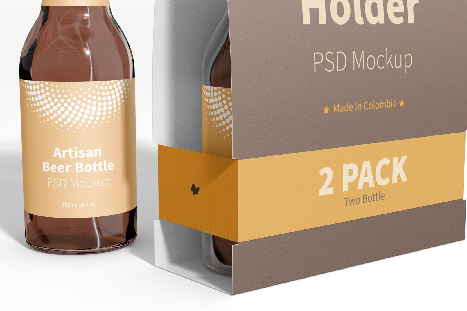 2 Pack Paper Bottle Holder Mockup, Close-Up