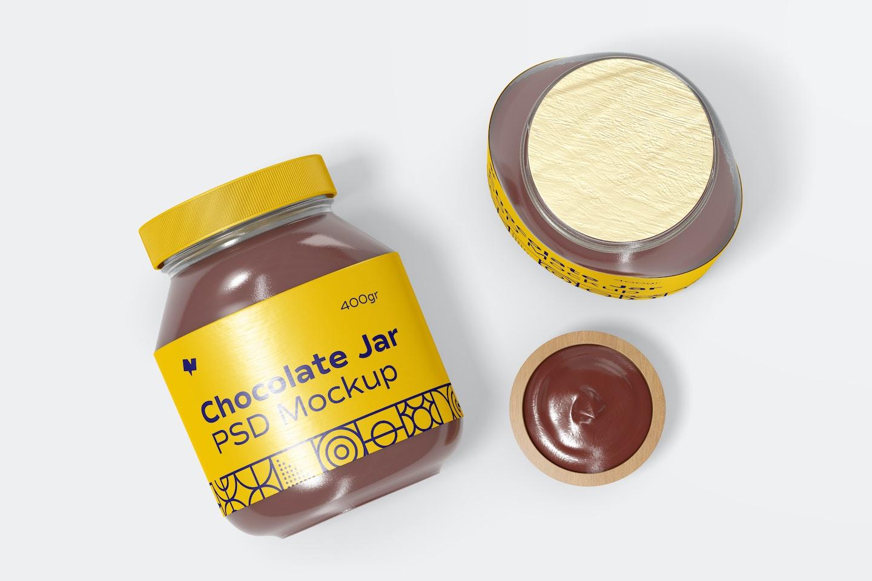 Chocolate Spread Jars Mockup, Top View