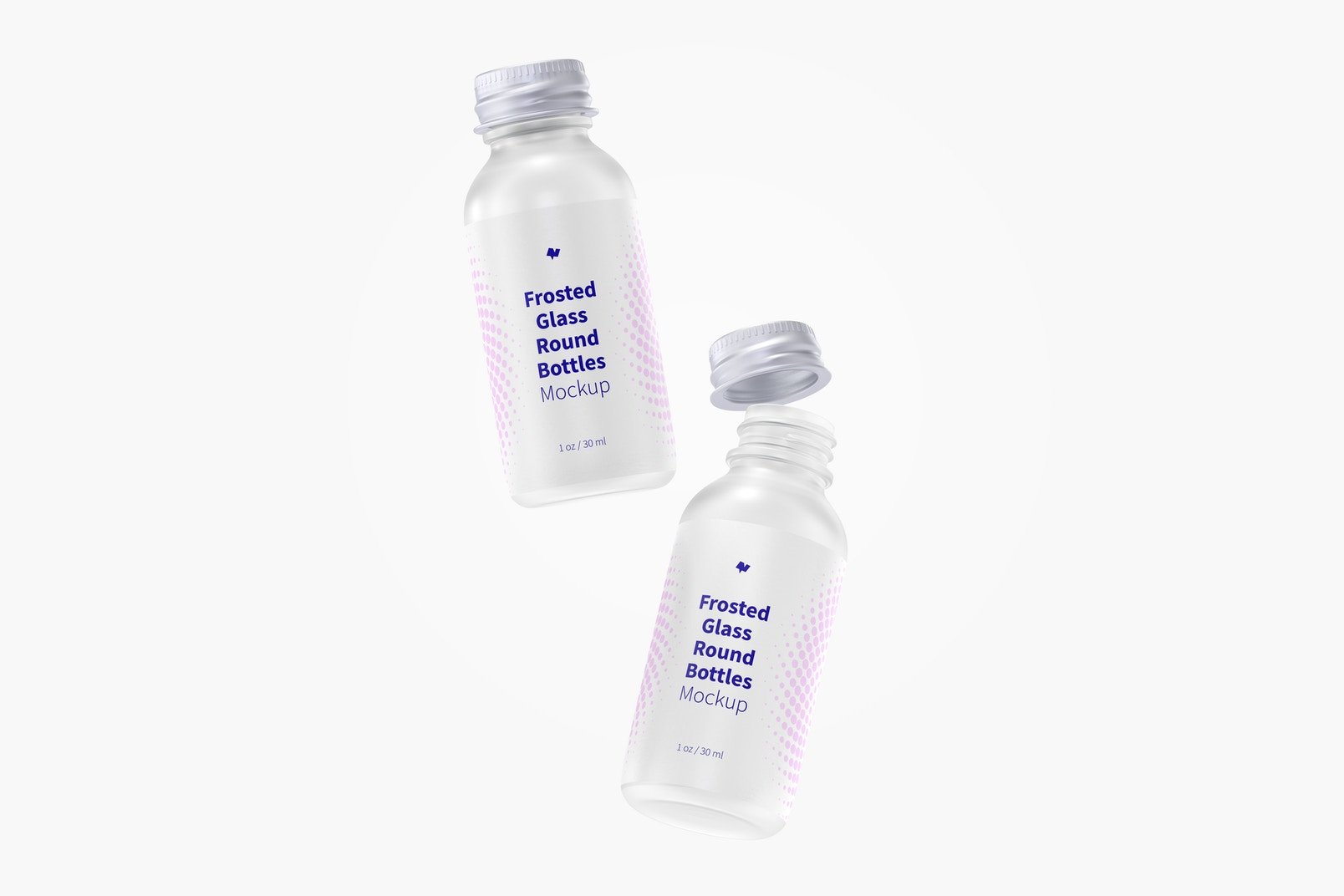 1 oz Frosted Glass Round Bottles Mockup, Falling