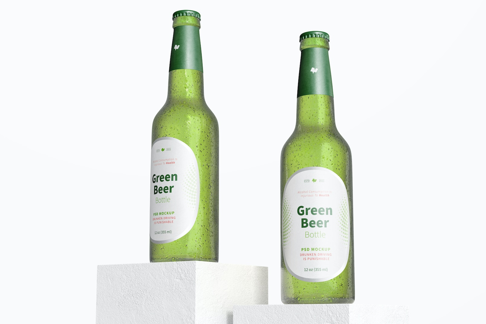 Green Beer Bottles Mockup, Low Angle View