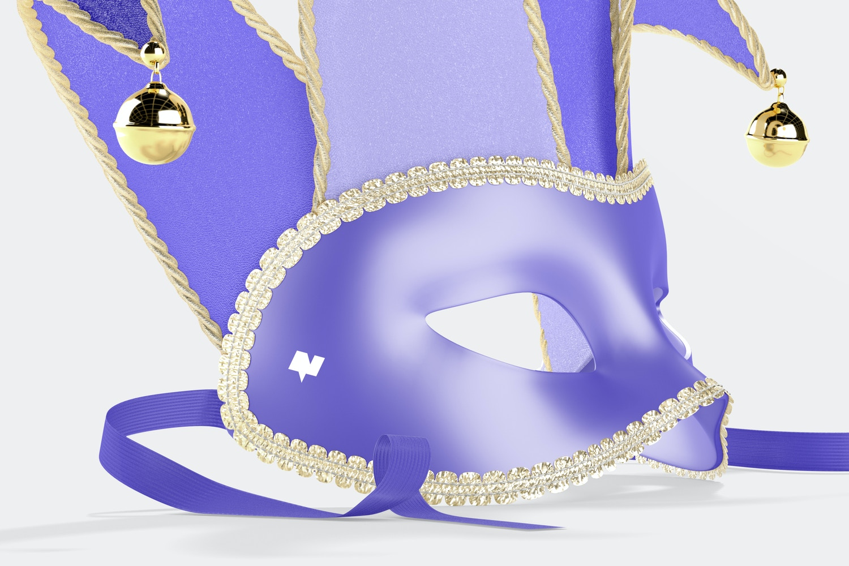 Jester Half-Face Masks Mockup, Left View