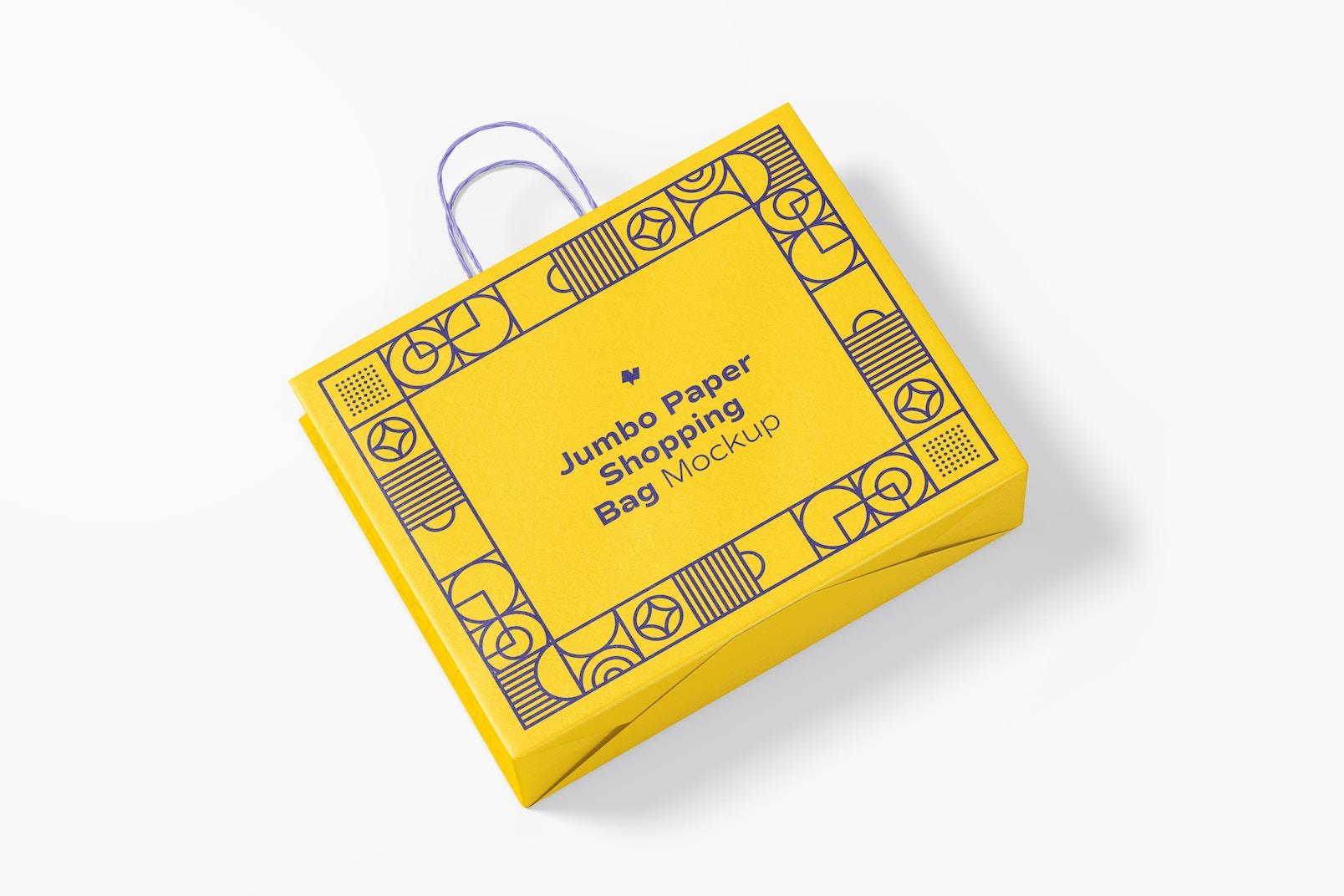 Jumbo Paper Shopping Bag Mockup, Top View