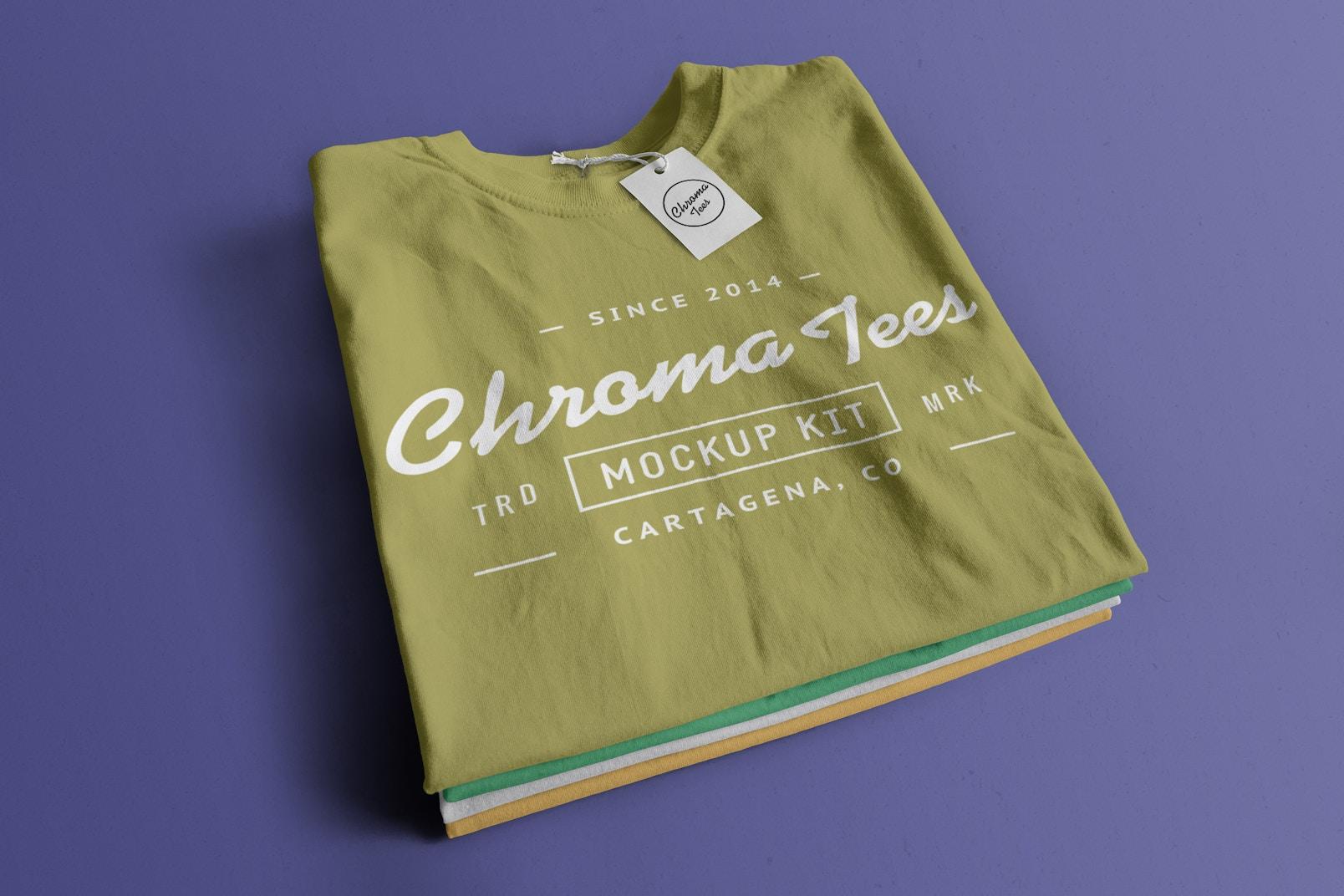 Stack of Folded T-Shirts Mockup 01