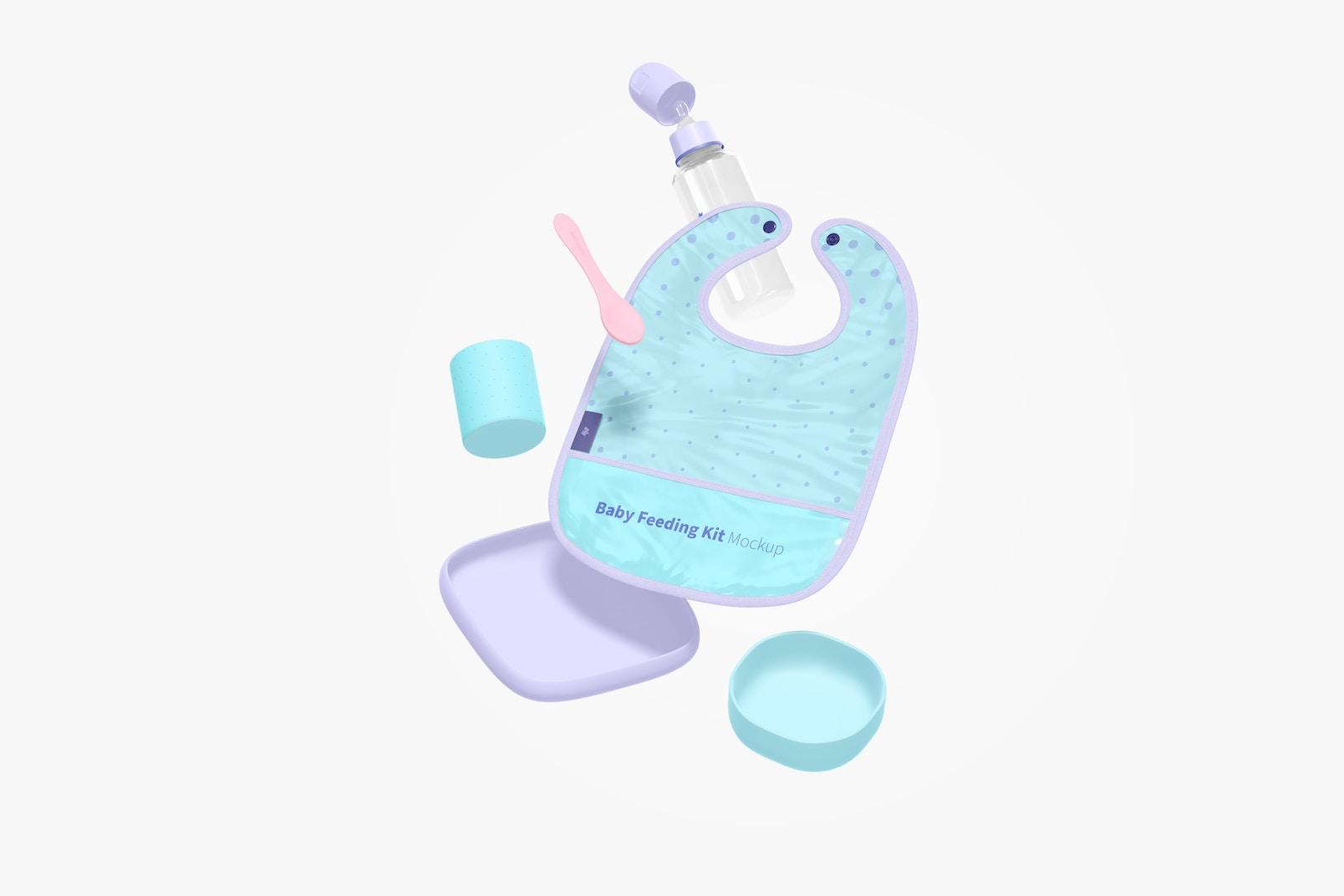 Baby Feeding Kit Mockup, Floating