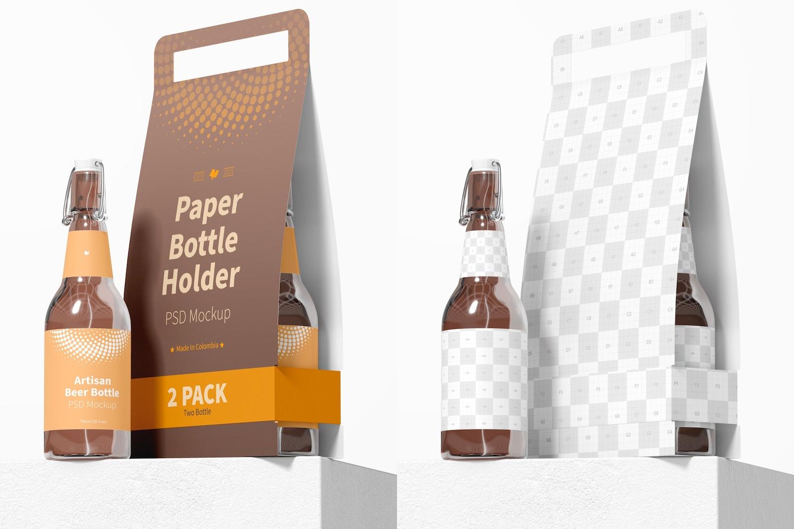 2 Pack Paper Bottle Holder Mockup, Front View