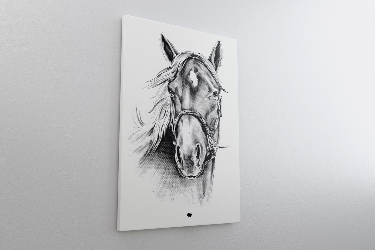 2:3 Portrait Canvas Mockup Hanging on Wall, Left View