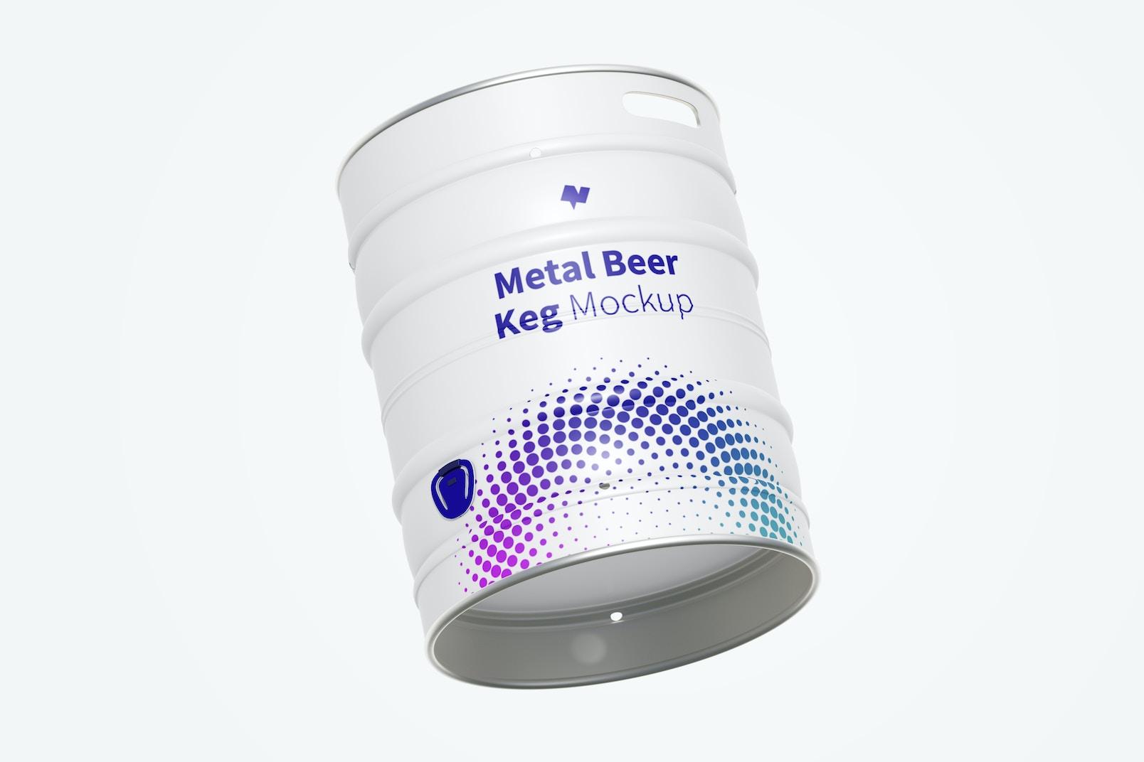 Metal Beer Keg Mockup, Floating