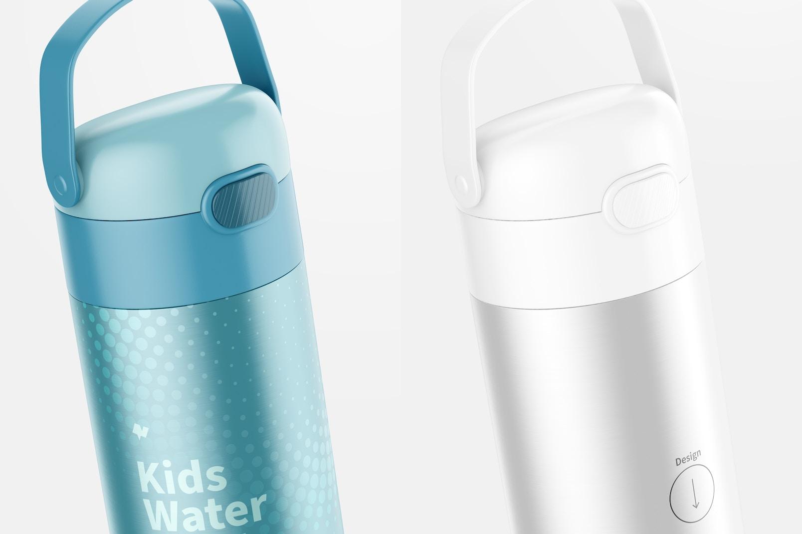 12 oz Kids Water Bottle Mockup, Close Up