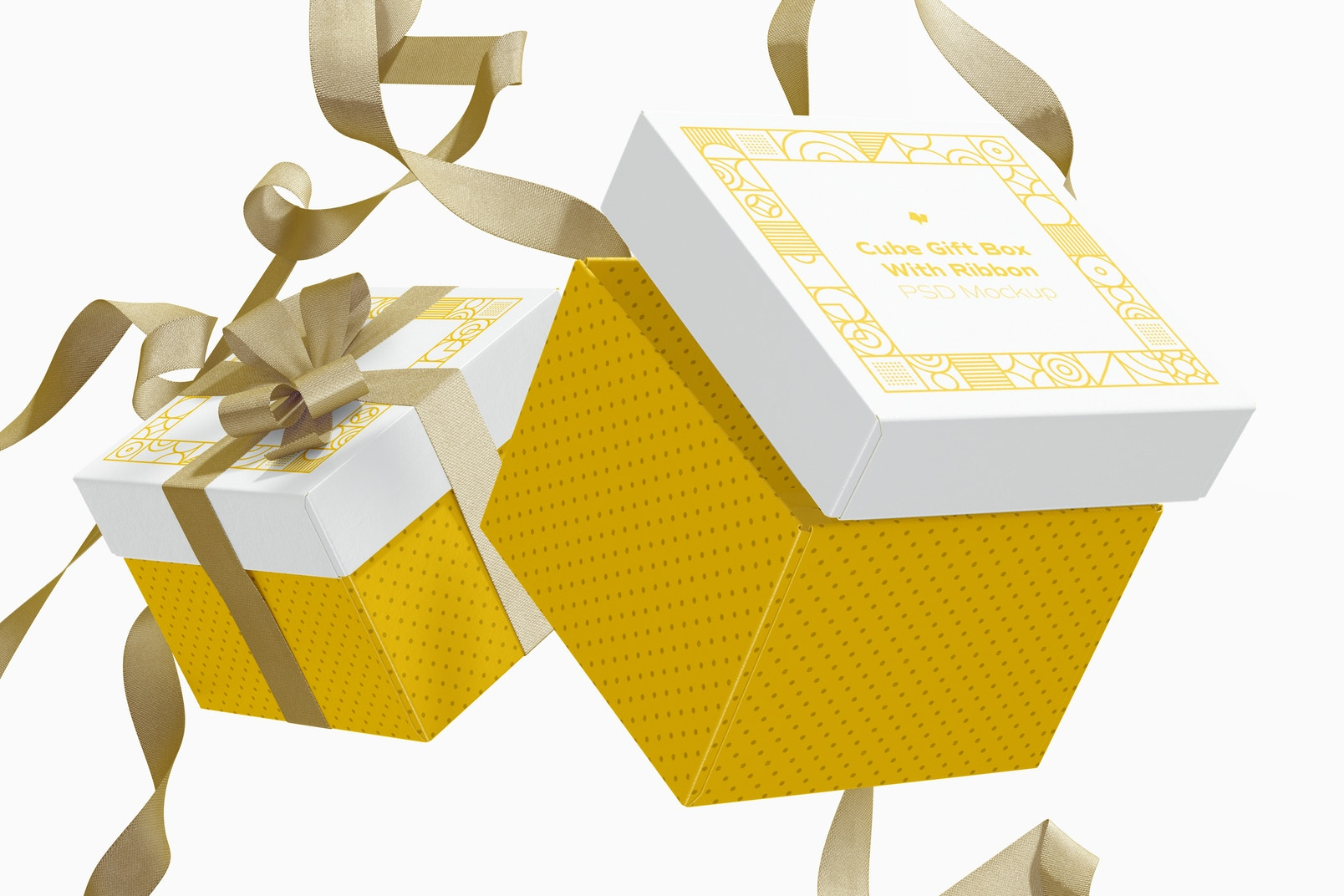 Cube Gift Boxes With Ribbon Mockup, Floating