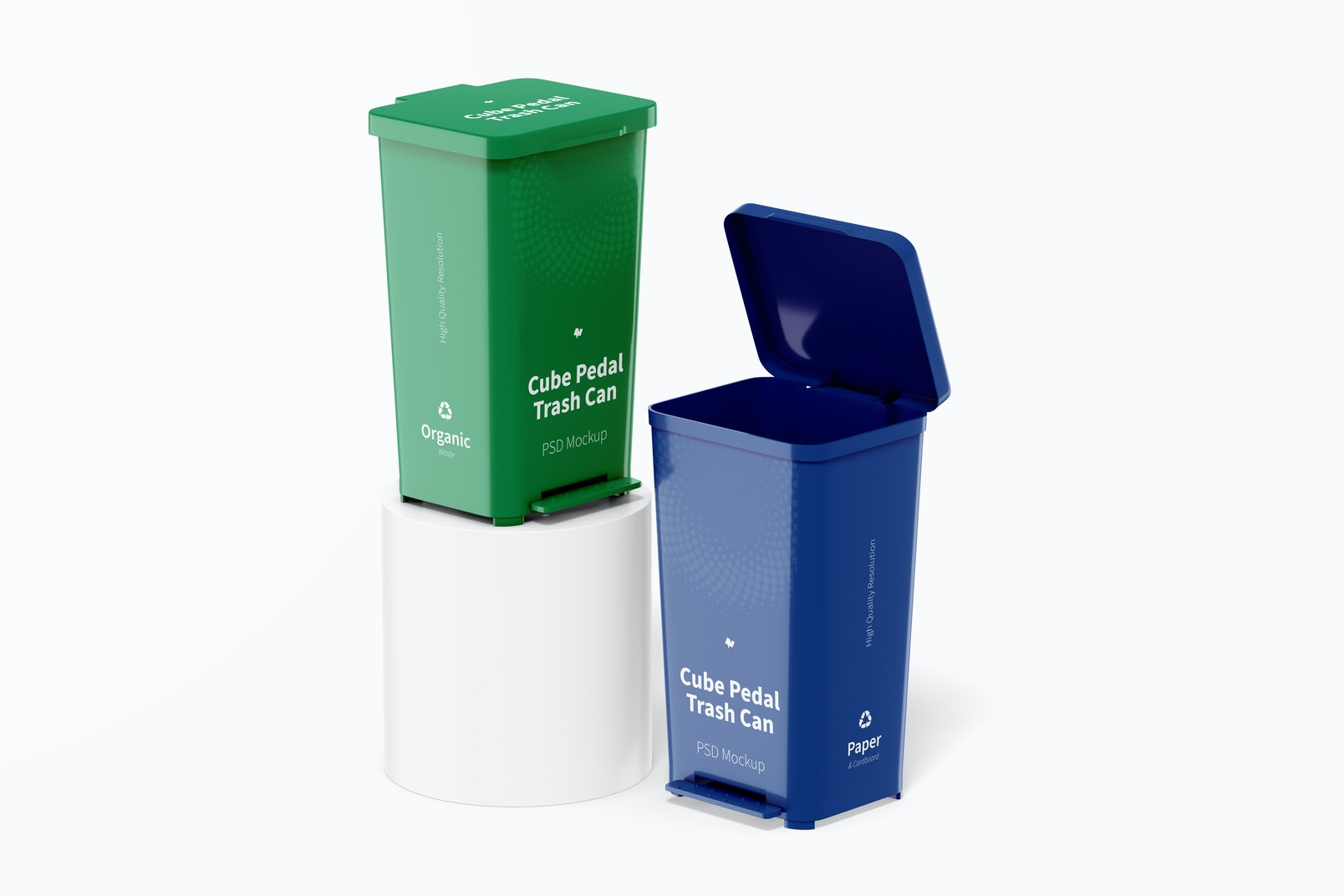Cube Pedal Trash Cans Mockup