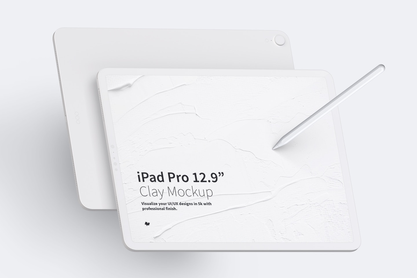"""Clay iPad Pro 12.9"""" Mockup, Landscape Front and Back View"""