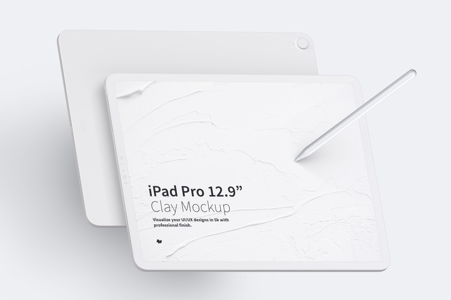 "Clay iPad Pro 12.9"" Mockup, Landscape Front and Back View by Original Mockups on Original Mockups"