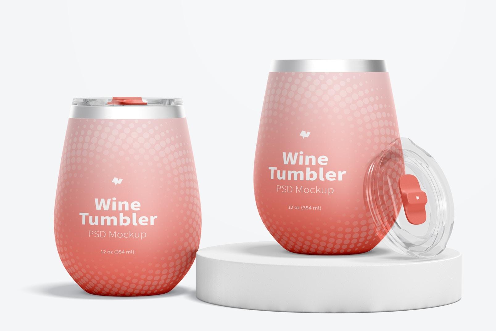 12 oz Wine Tumblers Mockup, Perspective