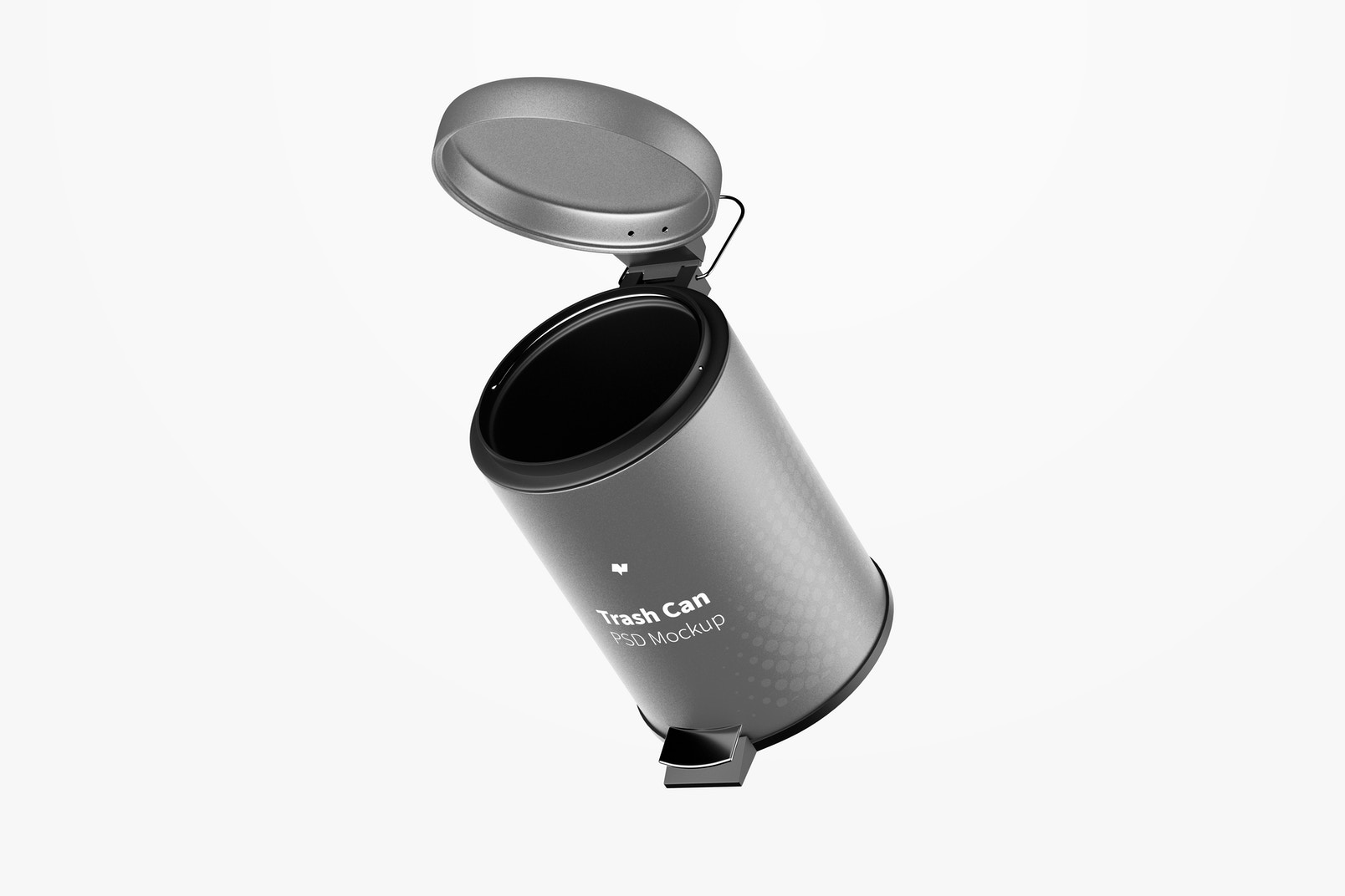 Trash Can With Foot Pedal Mockup, Floating