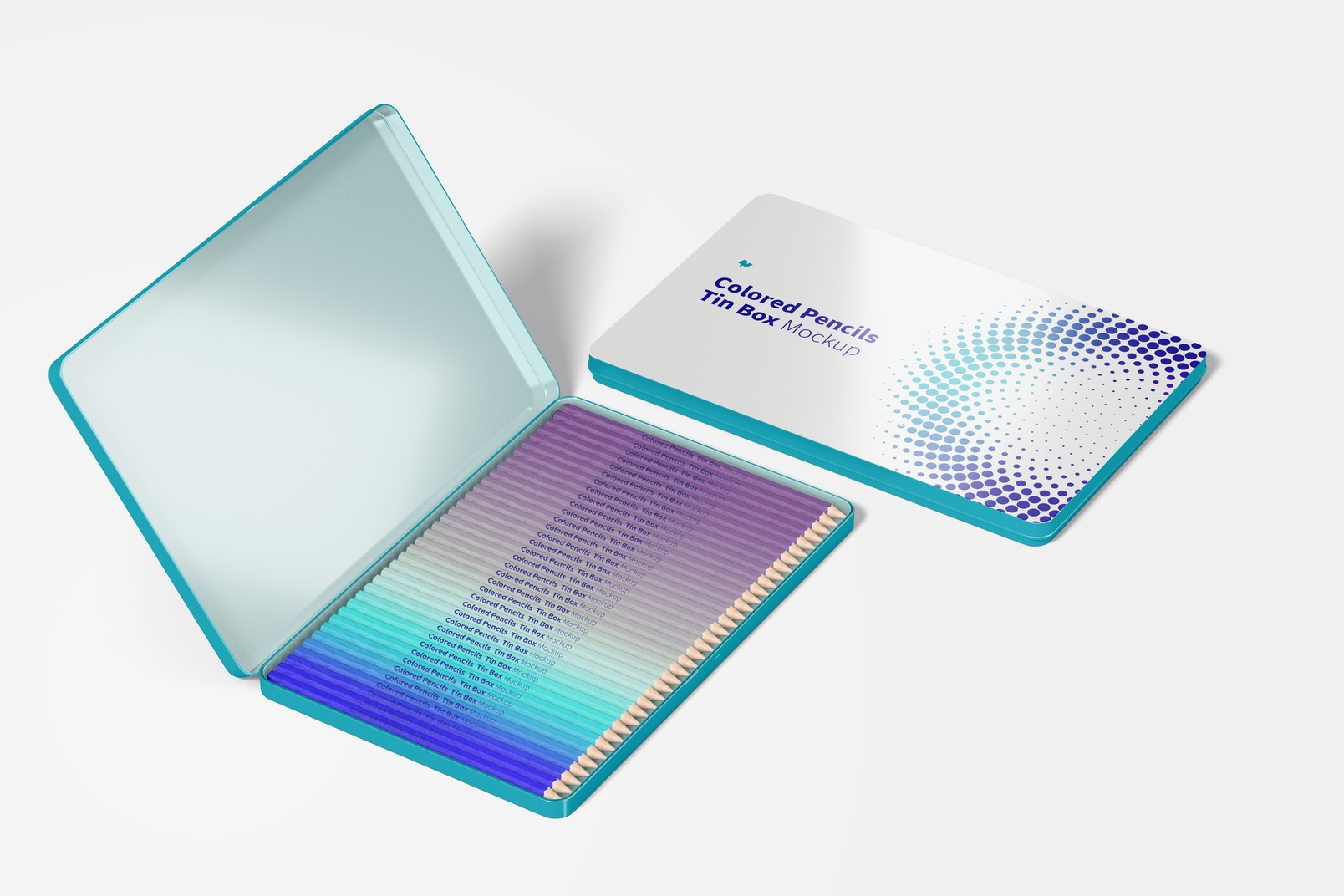 Colored Pencils Tin Boxes Mockup, Perspective View