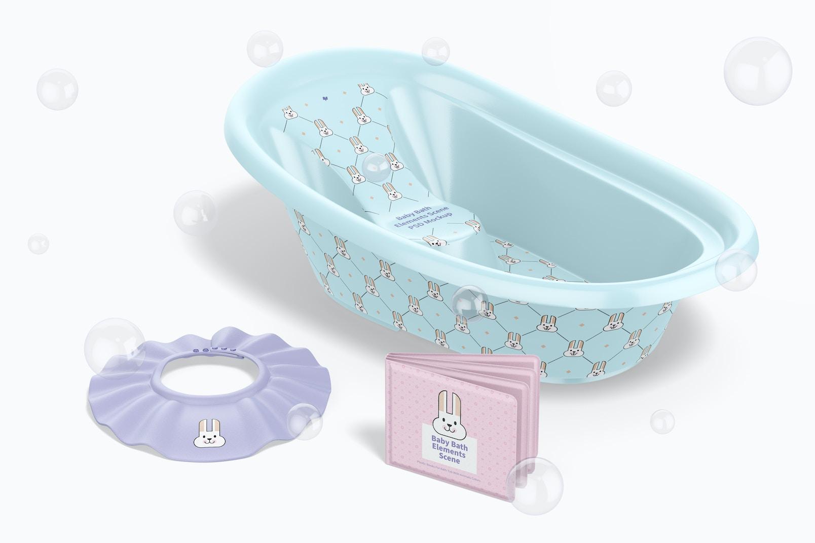 Baby Bath Elements Scene Mockup