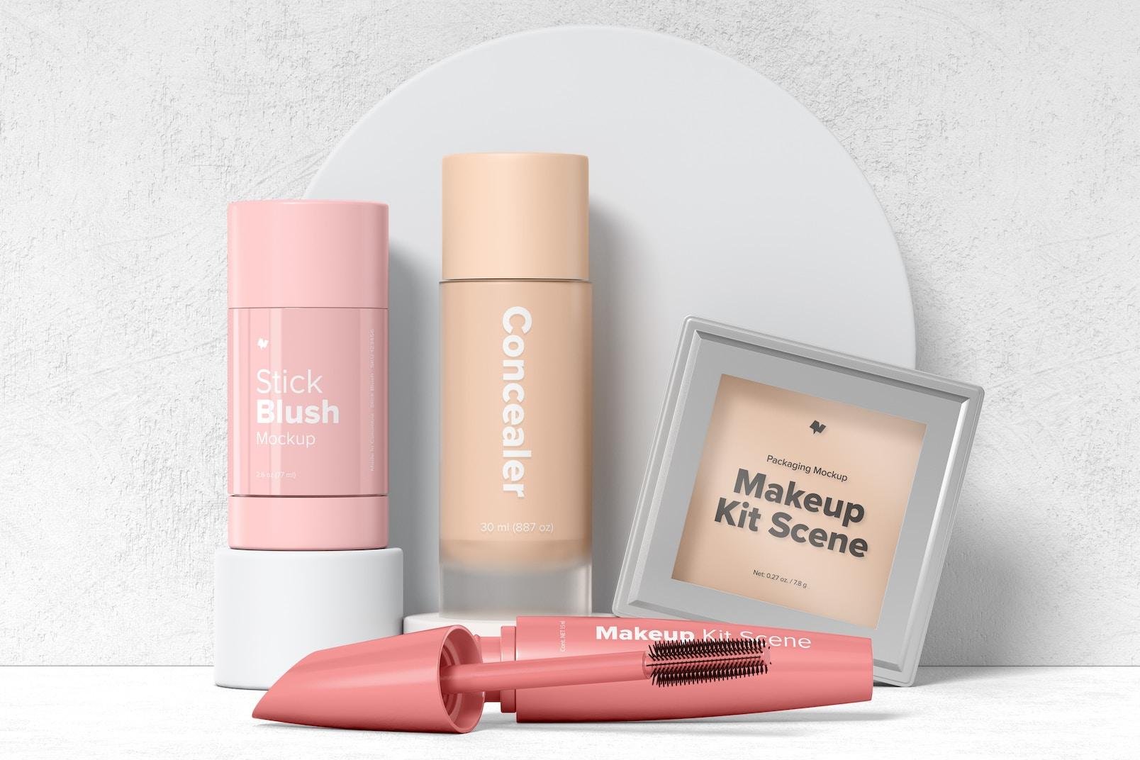 Makeup Kit Scene Mockup, Front View