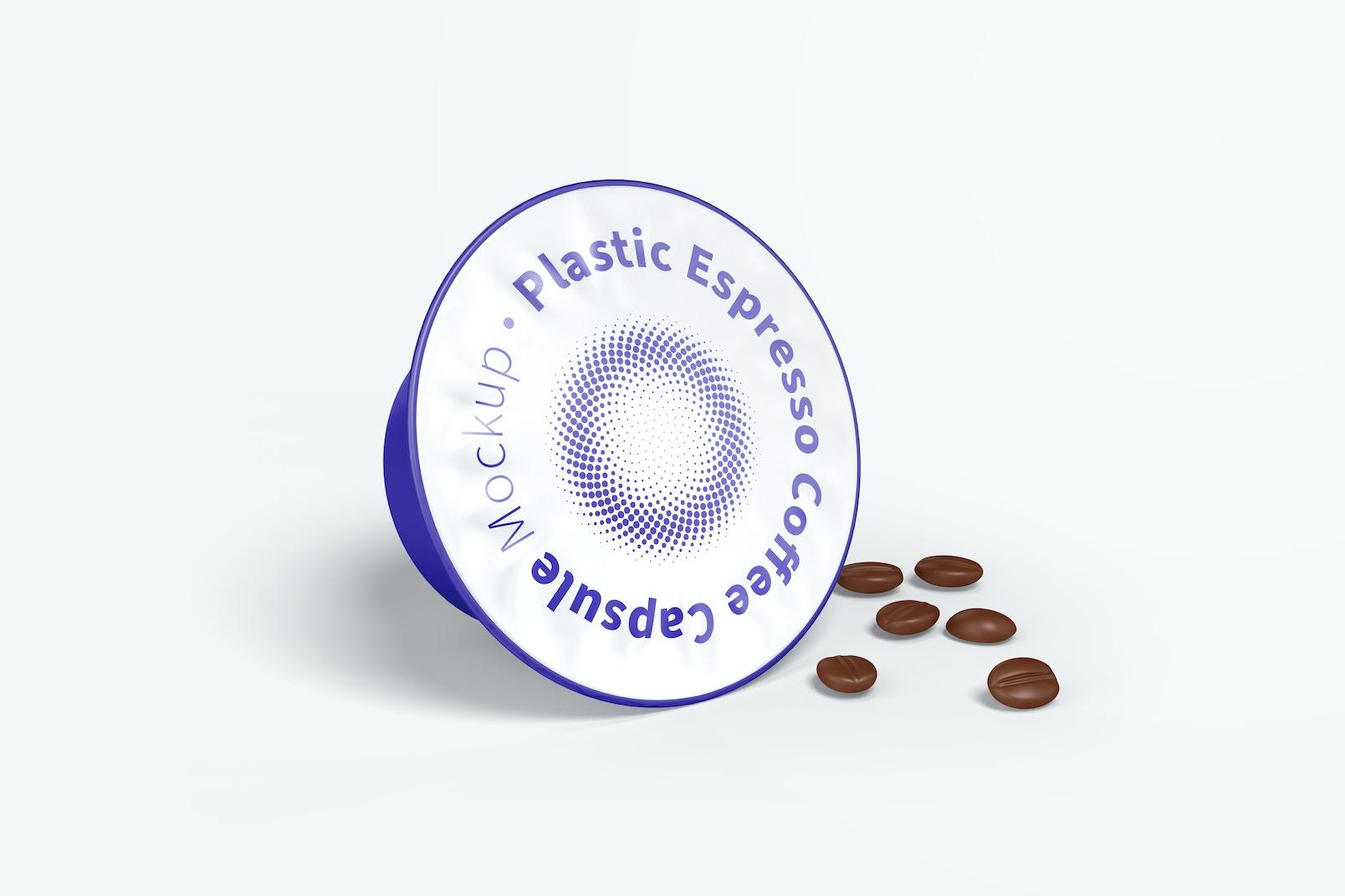 Plastic Espresso Coffee Capsule Mockup with Grains