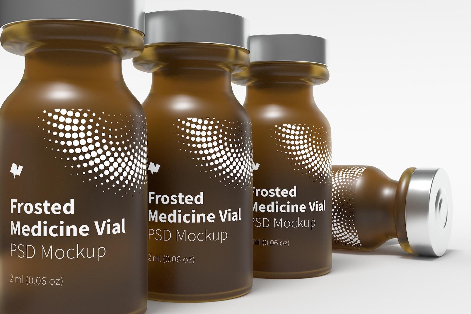 2 ml Frosted Glass Medicine Vial Bottles Mockup, Close Up