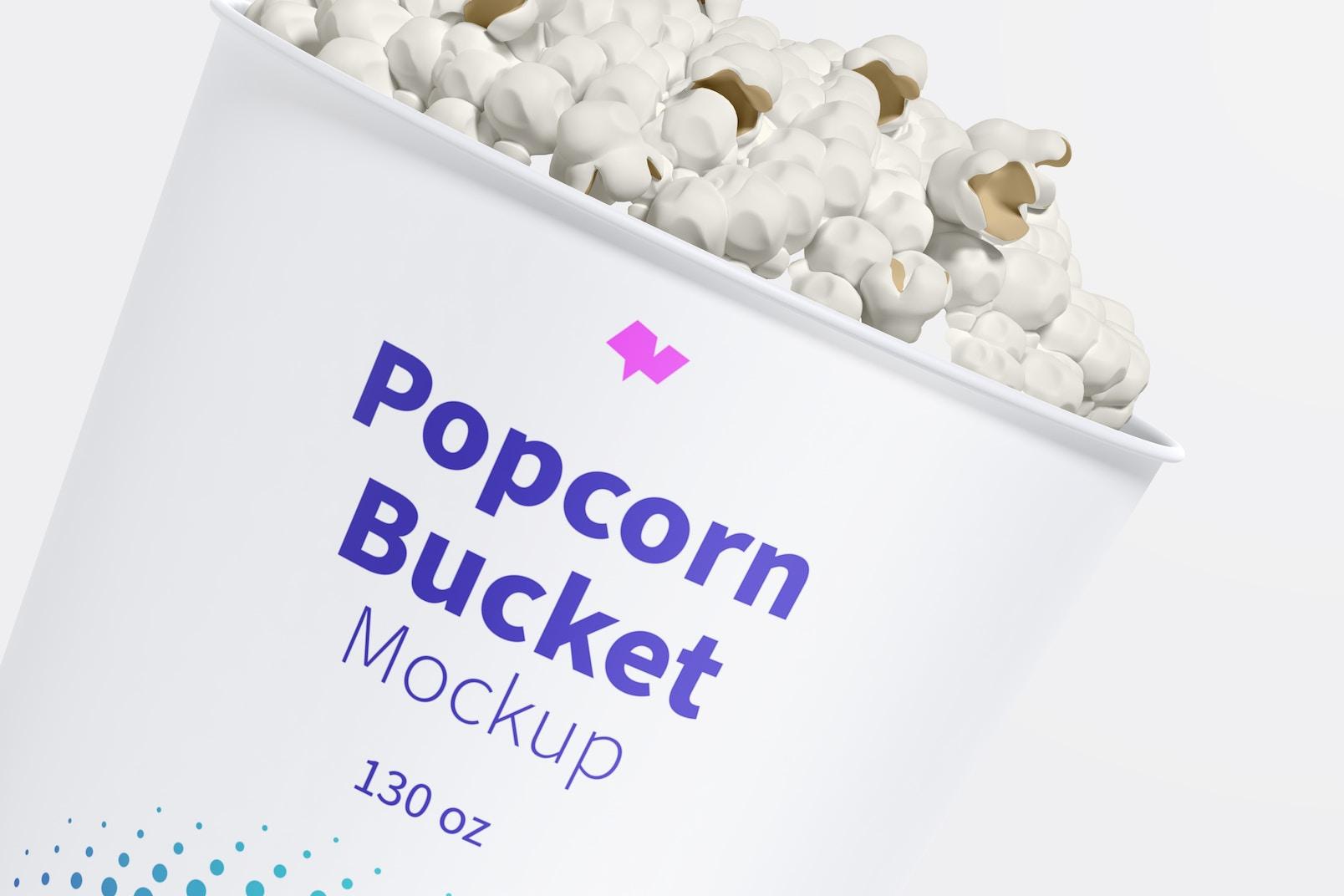 130 oz Popcorn Bucket Mockup, Close-Up