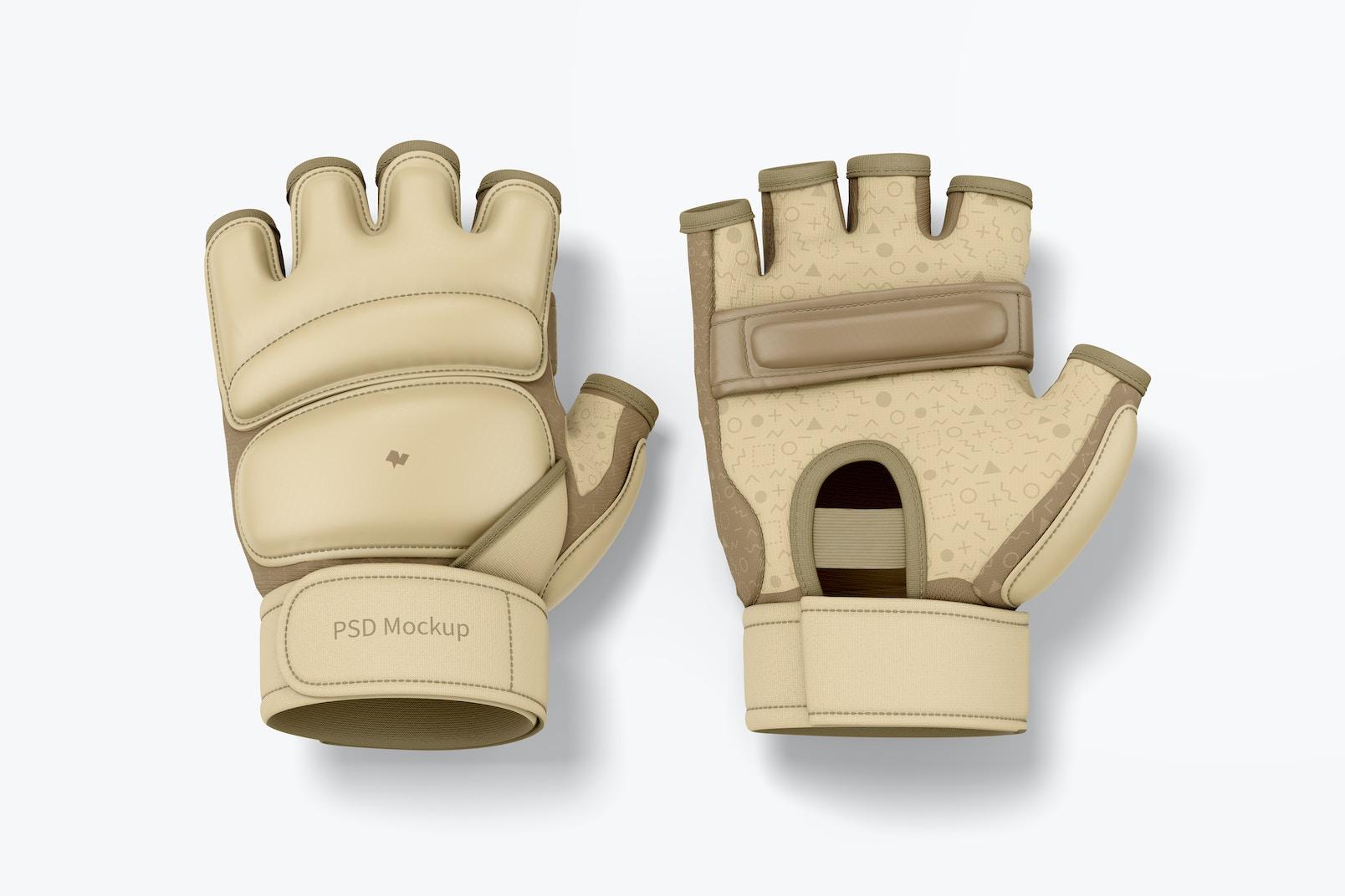 Taekwondo Gloves Mockup, Top View