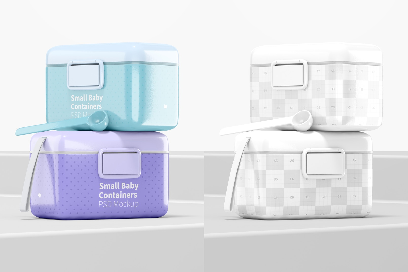 Small Baby Milk Powder Container Mockup, Perspective