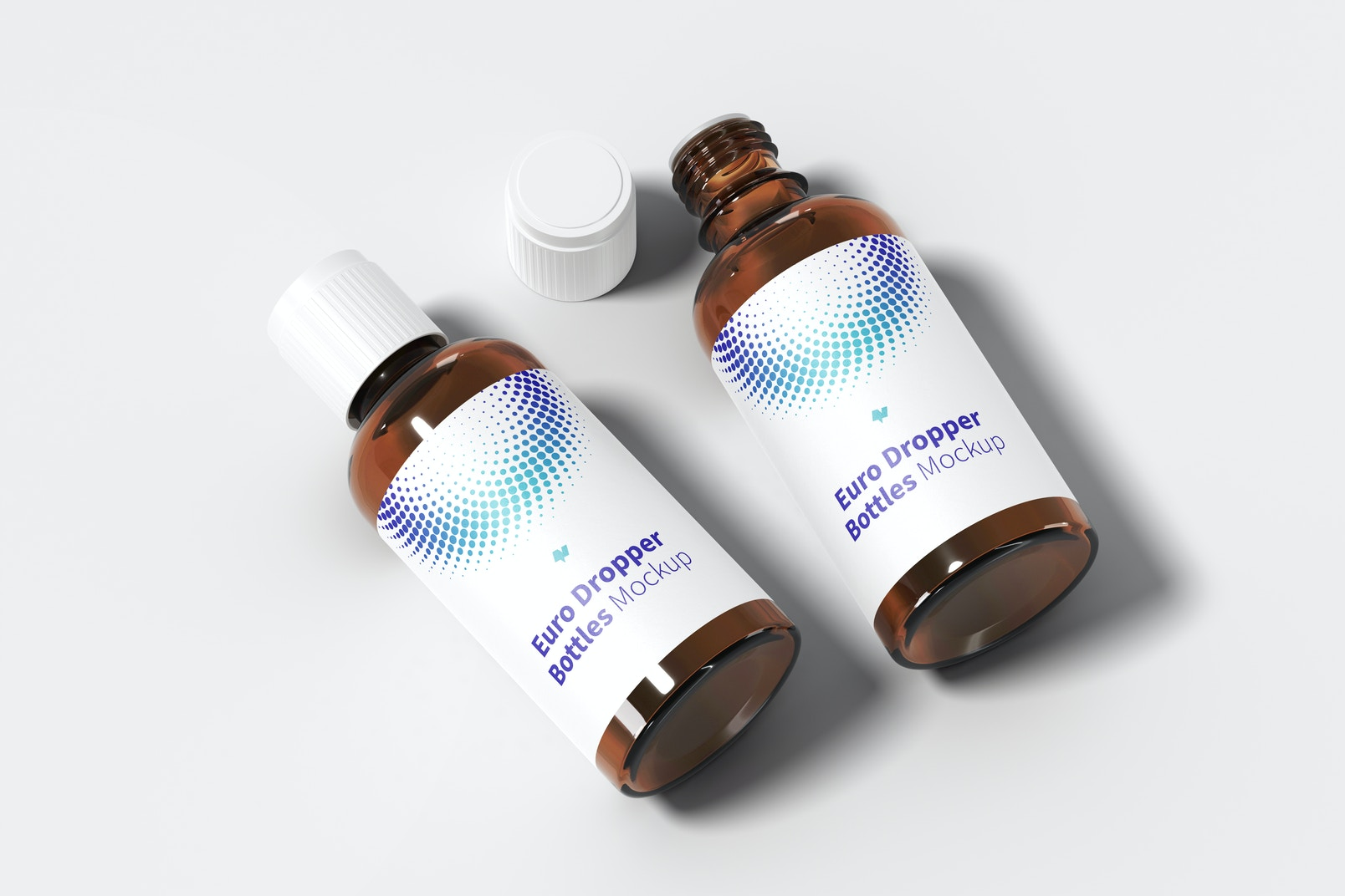 Euro Dropper Bottles with Orifice Reducers Mockup, Perspective