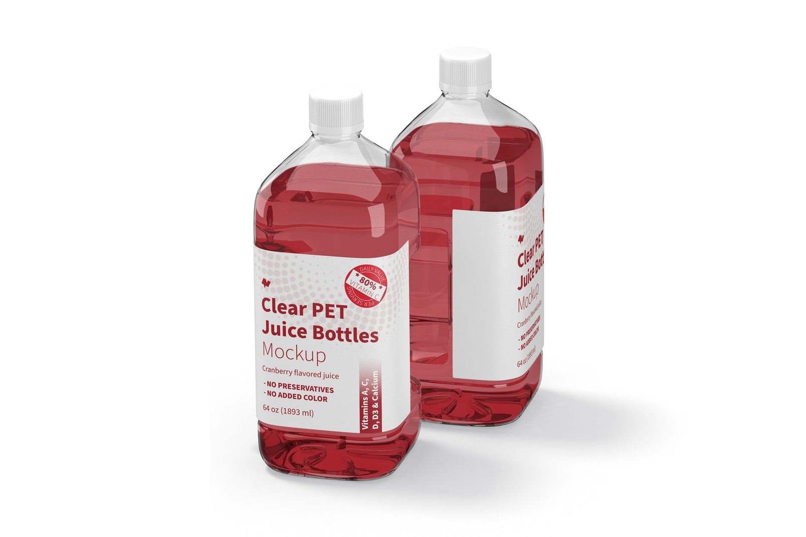 64 oz Clear PET Juice Bottles Mockup, Perspective View