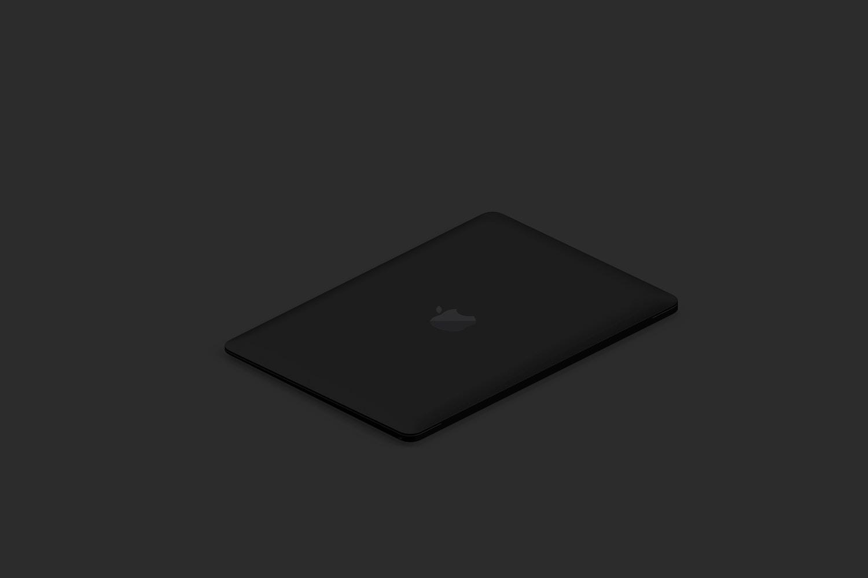 Clay MacBook Mockup, Isometric Left View 03