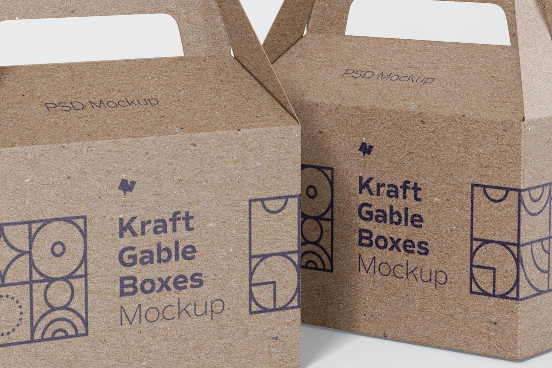 Kraft Gable Boxes Mockup, Close Up