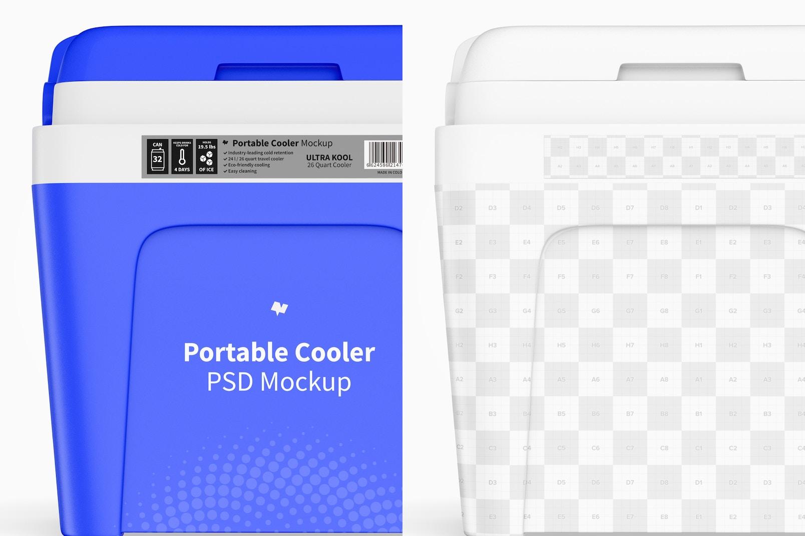Portable Cooler Mockup, Close Up