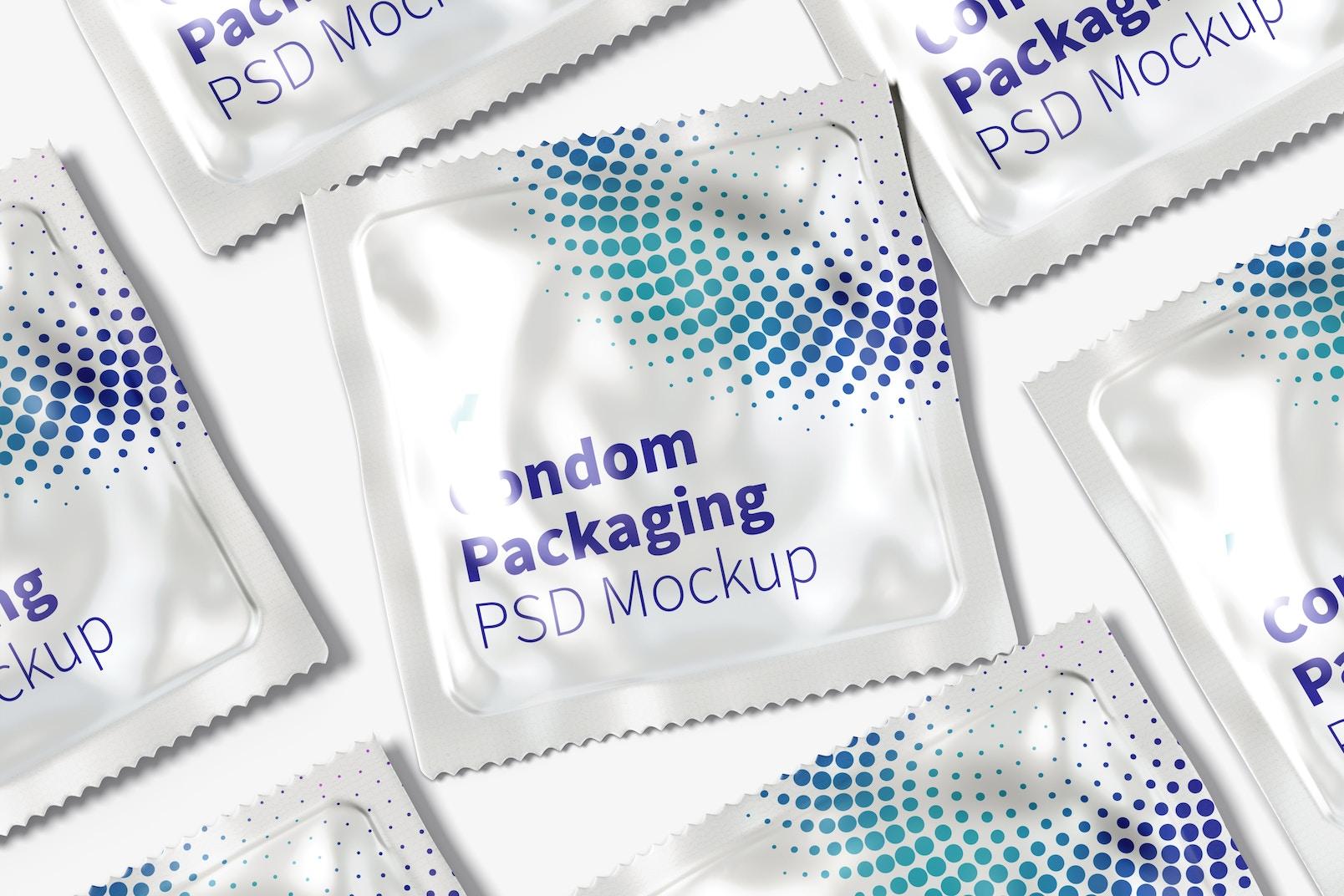 Condom Packaging Mockup, Close Up
