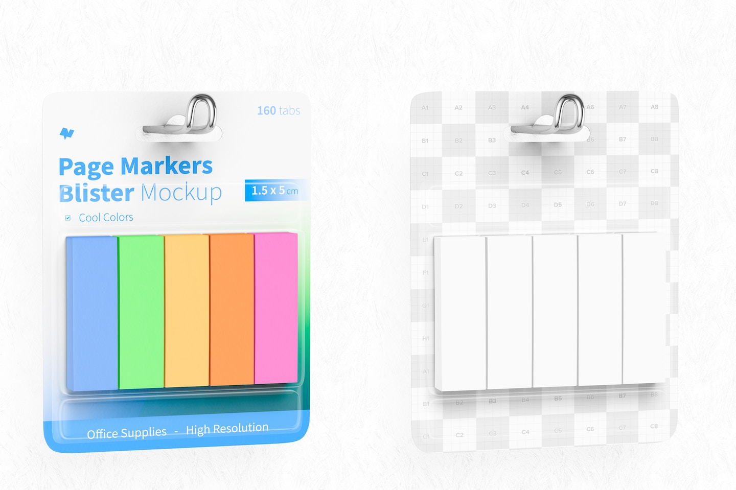 Page Markers Blister Mockup, Hanging