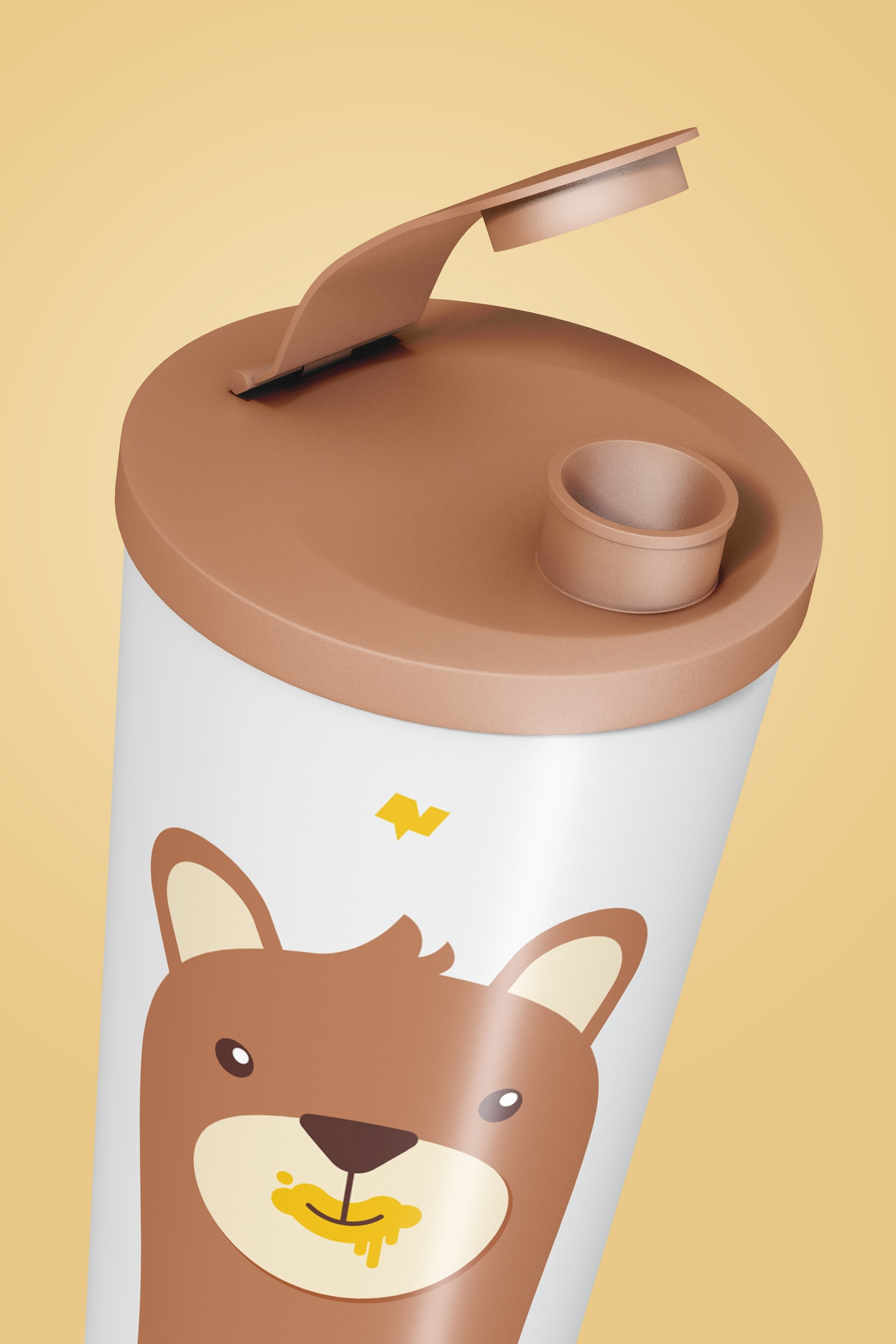 Kids Plastic Drink Cup With Lid Mockup, Close Up