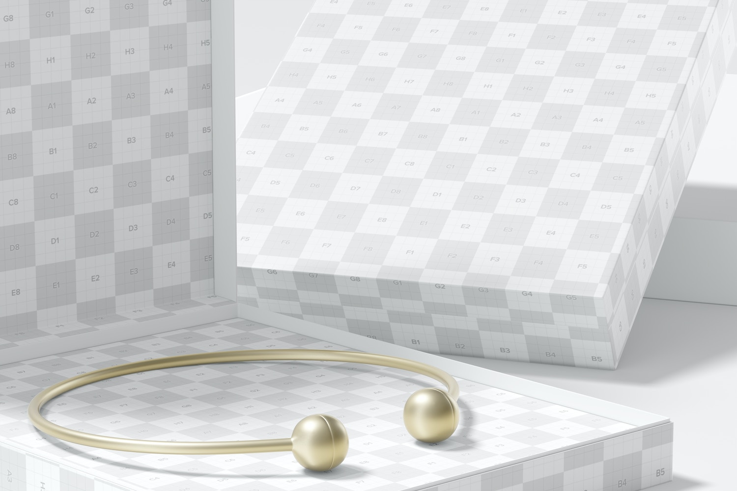 Square Jewelry Boxes Mockup, Close-Up