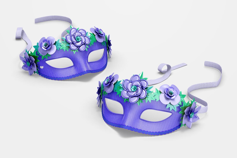 Floral Venetian Half-Face Masks Mockup, Perspective