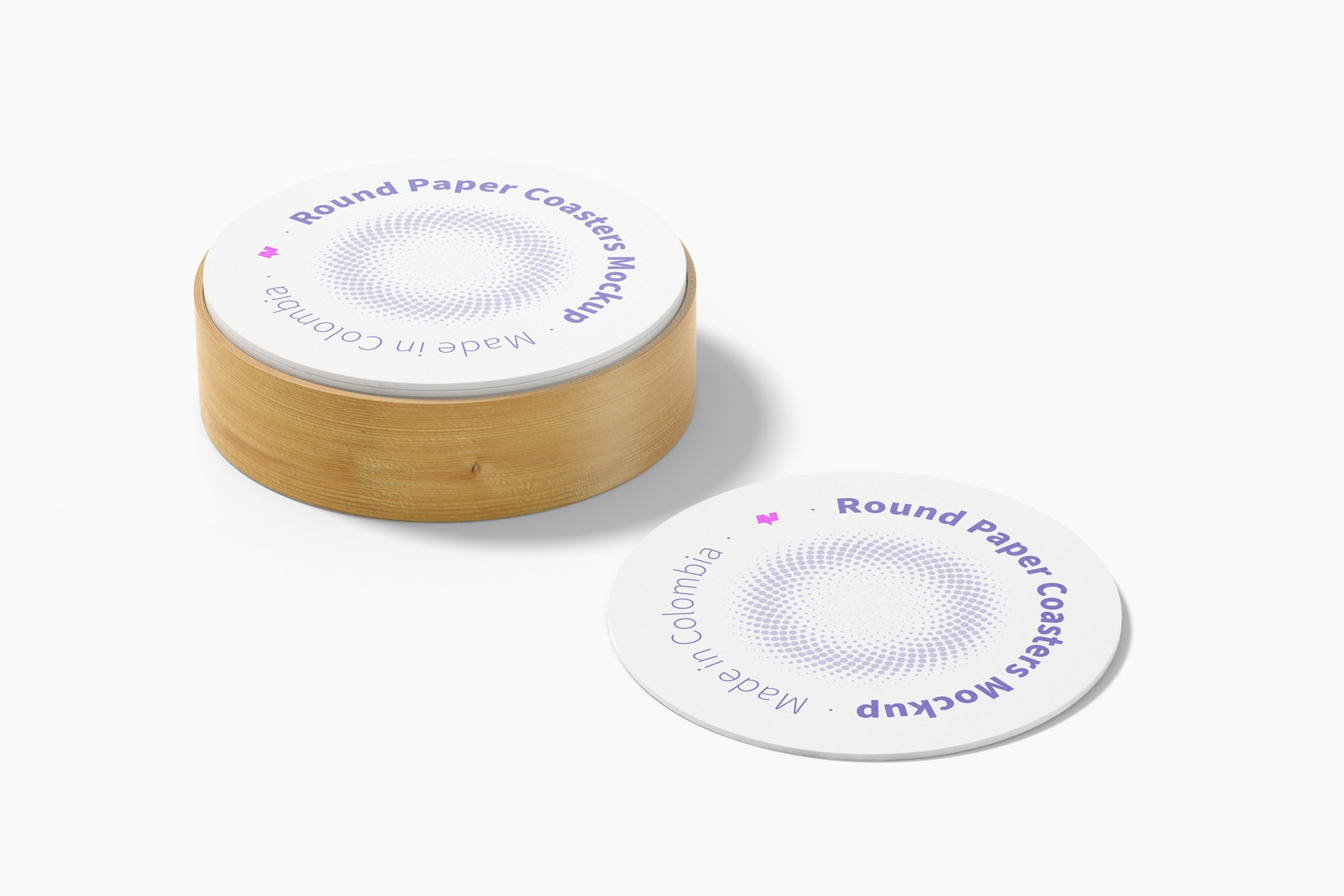 Round Paper Coasters with Box Mockup