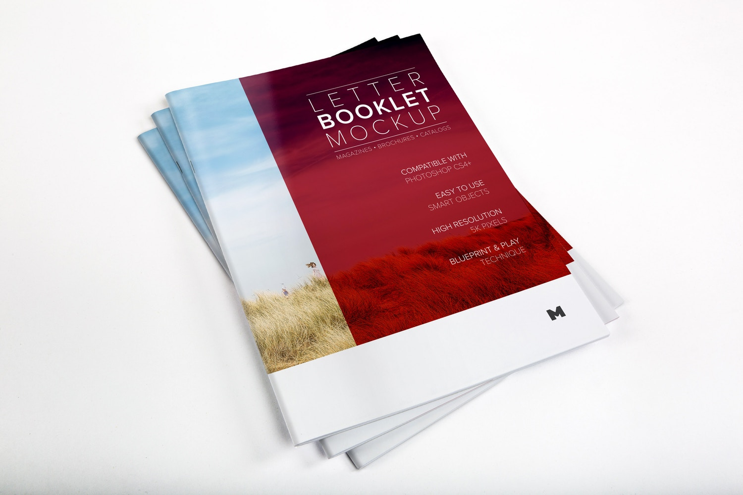Letter Booklet Stack Cover Mockup 01 by Original Mockups on Original Mockups