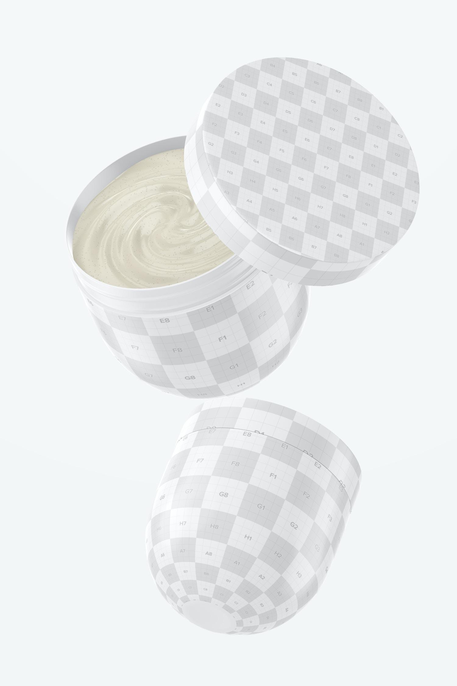 Hair Mask Jars Mockup, Floating