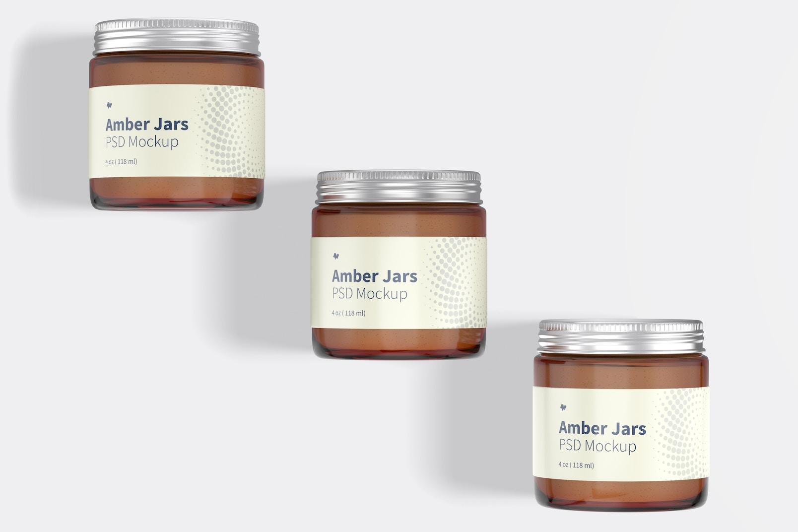 Amber Jars with Metallic Cap Mockup, Top View