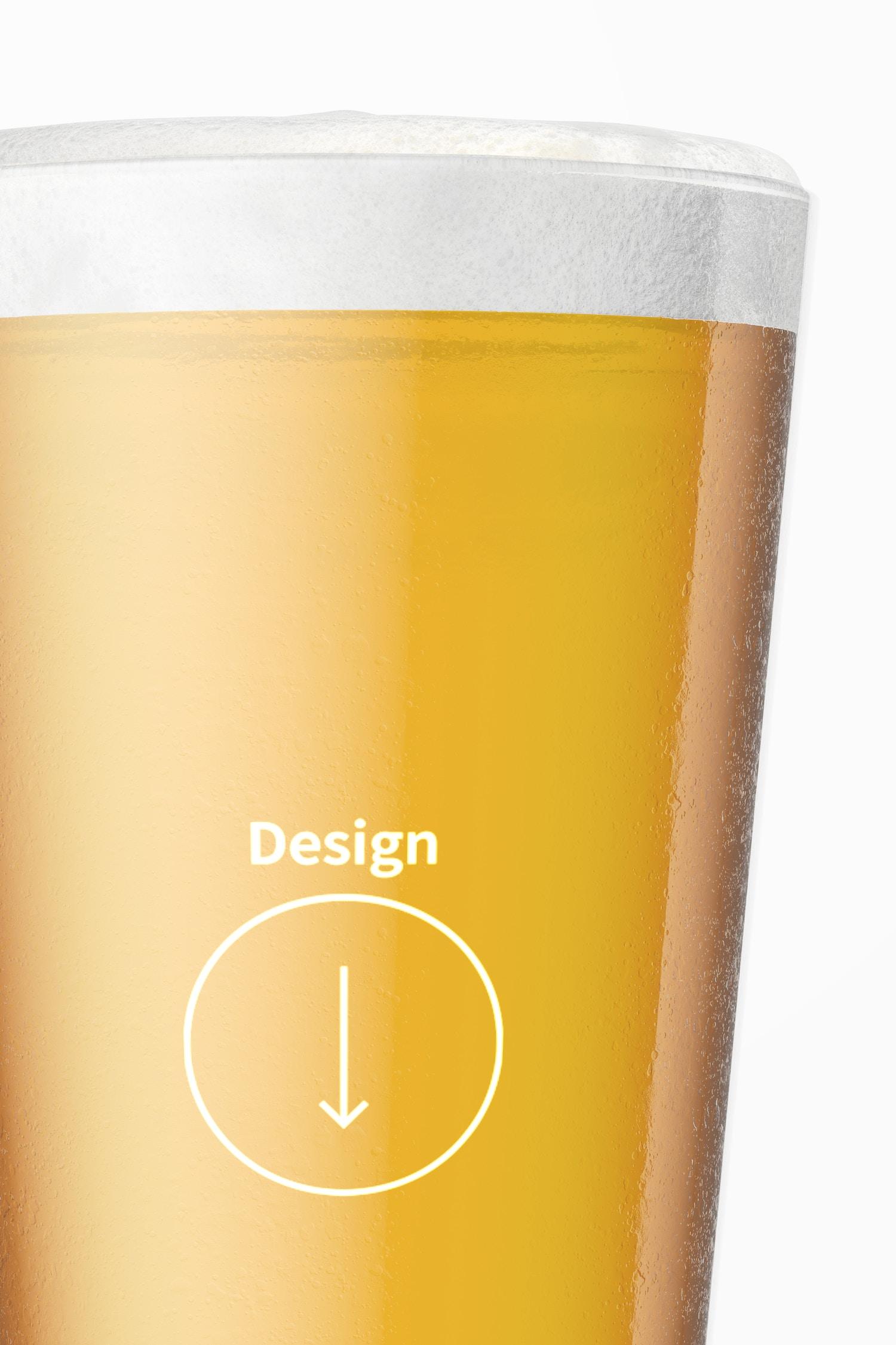 16 oz Beer Pint Mockup, Close Up