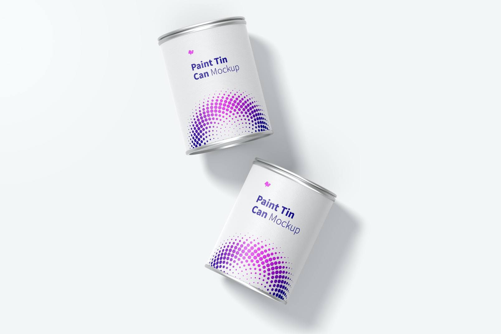 Paint Tin Cans Mockup, Top View
