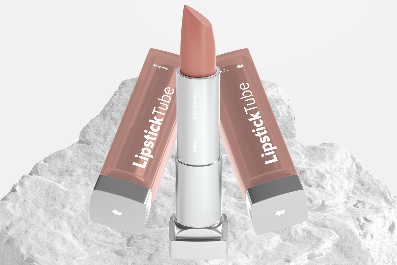 Metallic Lipstick Tubes Mockup, Floating