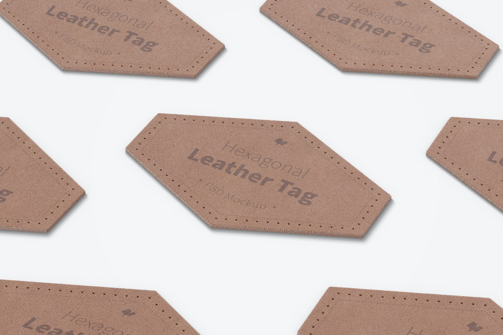 Hexagonal Leather Tags Mockup, Mosaic