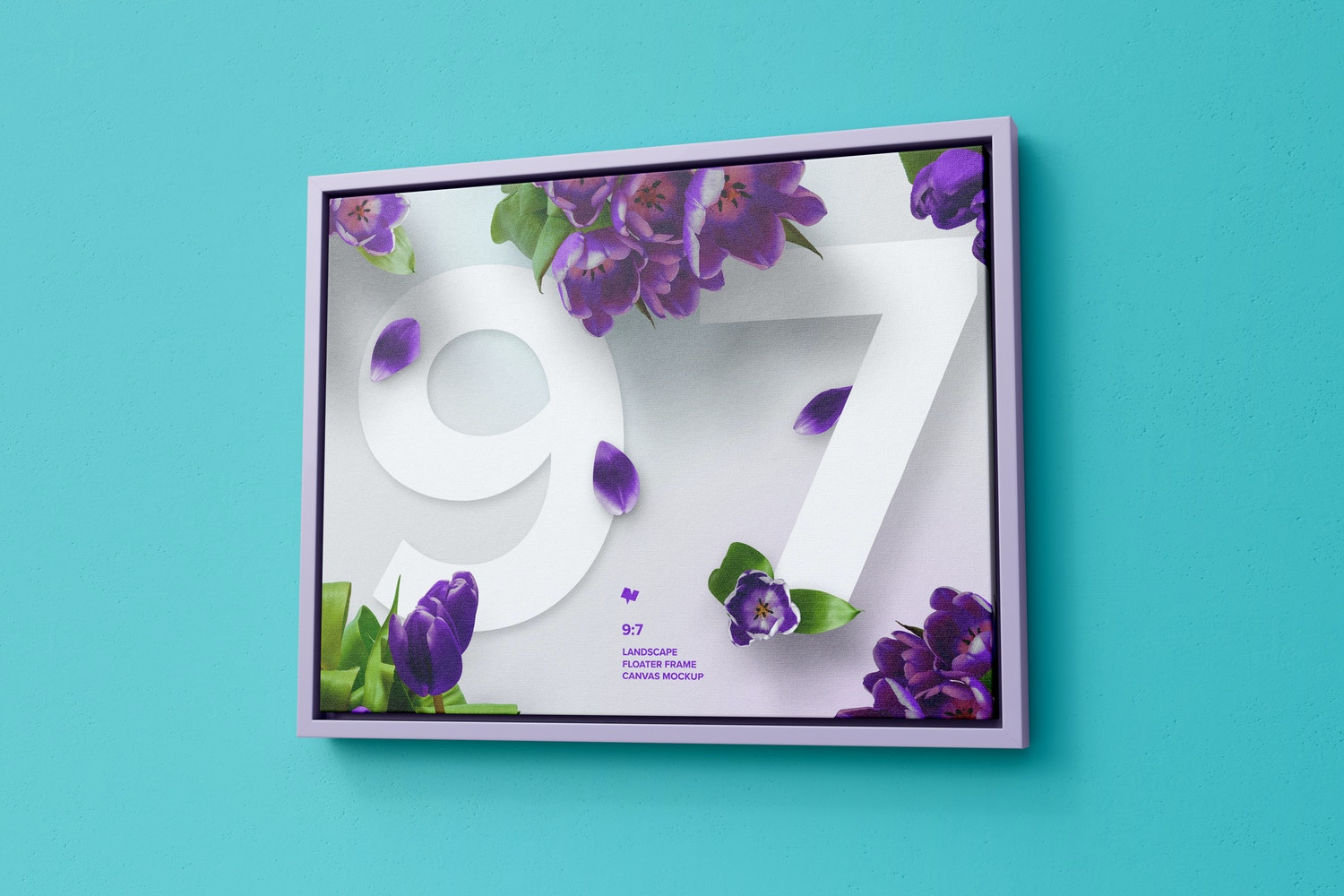 9:7 Landscape Canvas Mockup in Floater Frame, Right View