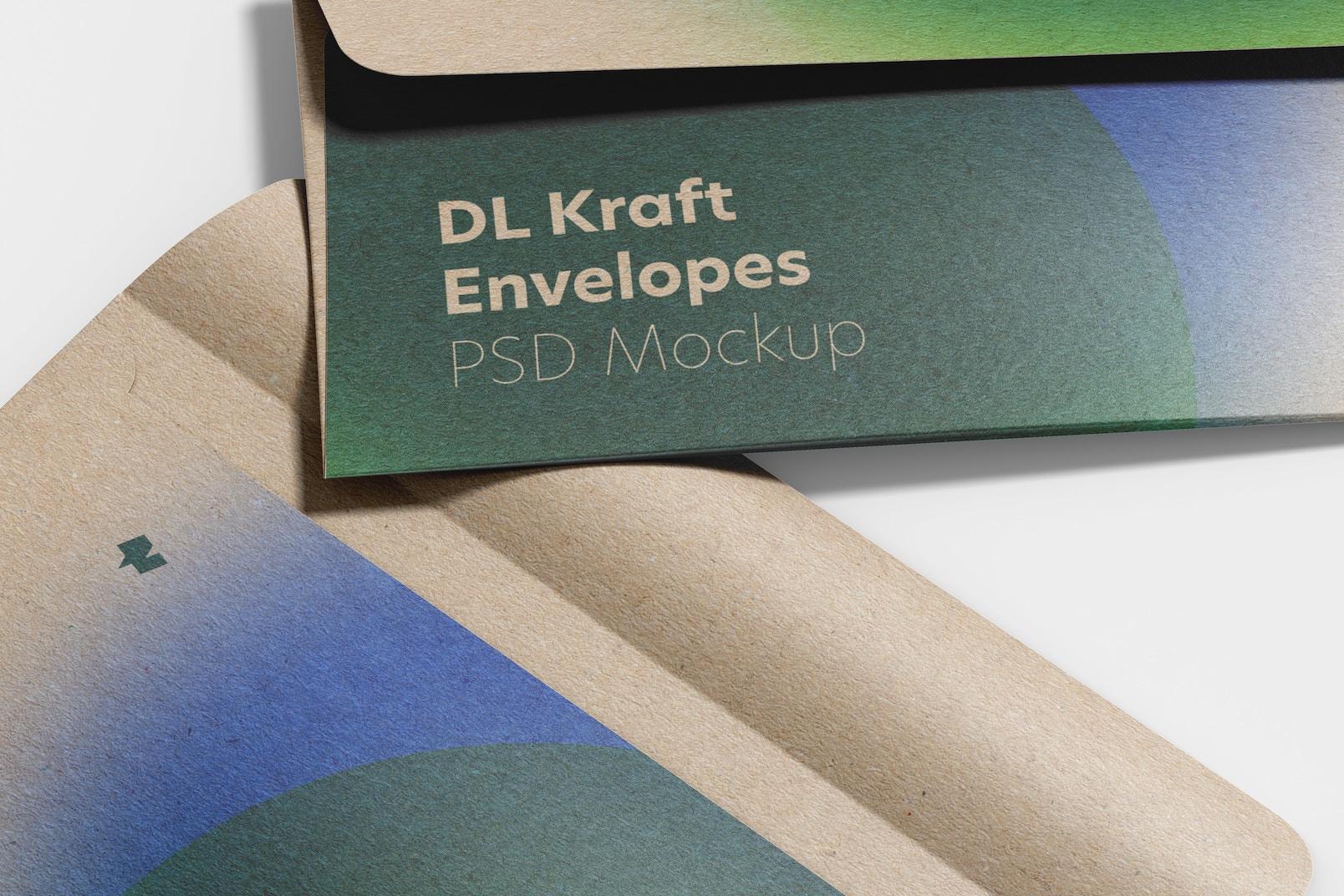 DL Kraft Envelopes Mockup, Close-Up