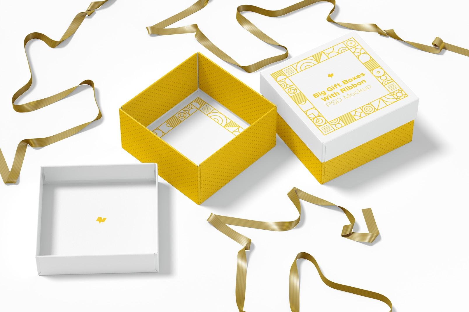 Big Gift Boxes With Ribbon Mockup